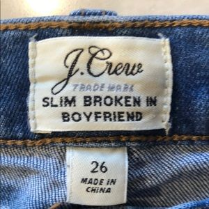 J Crew Slim Broken In Boyfriend Jeans Size 26
